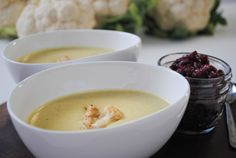 Cauliflower Soup with Cranberry Compote