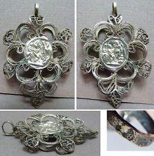 Ex-voto reliquaire argent massif 19e s Autriche Hongrie Austro-hongrois silver