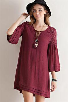 Lace Shoulder Baby Doll Dress - Burgundy