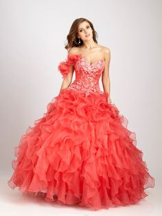 Organza Tiered Ruffles Strapless Sweetheart Applique Sweet 16 Dresses / Ball Gown / Quinceanera Dresses NTGowns