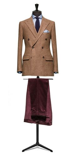 Brown jacket Houndstooth burgundy windowpane http://www.tailormadelondon.com/shop/tailored-jacket-fabric-7824-check-brown/