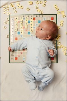 Scrabble baby photo (@Tory Bright, this is why the scrabble set is still at your house! LOL!)