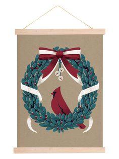 Vintage Holiday Wreath Print