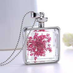 Real red flower glass pendant necklace (square) #Pendant