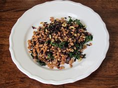 Kitchen Sink Diaries: Farro and Black Rice with Kale & Pine Nuts