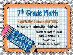 READY TO GO! 7th Grade Interactive Notebook Unit- Expressions and Equations   14 different lessons for an Interactive Notebook Unit for your classroom to use today! Filled with Teacher Directions and Ideas for Practice/Reflection as well as pictures of every page!  Check out www.NYHomeschool.com as well. Math Notebooks, Interactive Notebooks, Co Teaching, Teaching Ideas, Seventh Grade Math, Eighth Grade, Fourth Grade, Math Expressions, Math Notes
