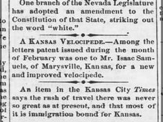 Mr. Isaac Samuels, of Marysville, Kansas, for a new and improved velocipede. Emporia 5 Mar 1869, Fri