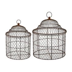 Asst of 2 Birdcage Baskets Brown Birdcages ($172) ❤ liked on Polyvore featuring home, home decor, decorative accessories, bird cage home decor and brown home decor