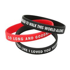 My Chemical Romance So Long And Goodnight Rubber Bracelet 3 Pack Hot... ($8.40) ❤ liked on Polyvore featuring jewelry, bracelets, rubber bracelet, rubber bangles, bracelet bangle, bracelet jewelry and long jewelry