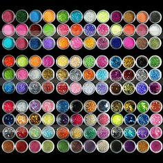Nail Art 12 18 120 Colors Acrylic UV Gel Glitter powder Beads Decoration Kit Tip Starting at $0.99