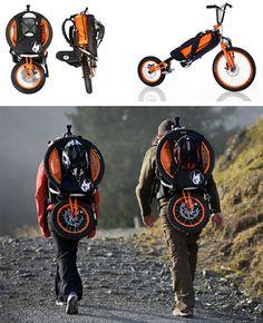 Folding Bike Bag by Bergmonch. This Folding Bike Bag is featuring a folding mechanism which. Tricycle, Pimp Your Bike, E Mountain Bike, Mountain Climbers, E Skate, Velo Vintage, Folding Bicycle, Bike Bag, Scooter Bike