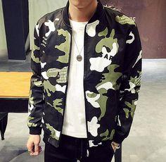camouflage bomber jacket with zipple long sleeve baseball jacket