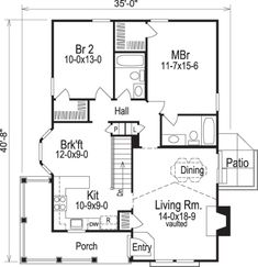 This lovely Cottage style home with Country influences (House Plan has 1084 square feet of living space. The 1 story floor plan includes 2 bedrooms. 2 Bedroom House Plans, Cottage Style House Plans, House Plans One Story, Cottage Style Homes, Cottage House Plans, Small House Plans, House Floor Plans, Cottage Ideas, The Plan