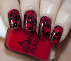 Red Stamped On Black Nails Pinterest Black Manicure And Makeup