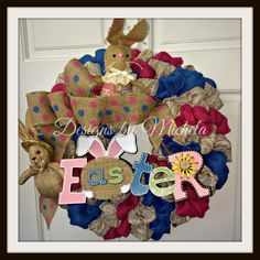 Easter Lace Burlap Pink and Blue Bunnies Wreath, BR050