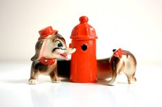 Vintage Dachshund Dog Salt and Pepper Shakers by WiseApple on Etsy, $34.00