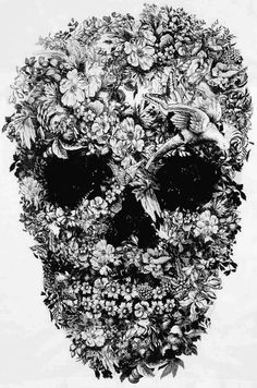 skull, flowers, black and white, tattoo