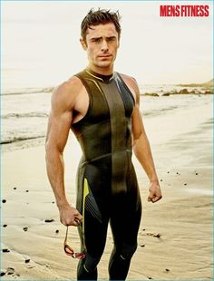 Zac Efron dons a wetsuit for his Men's Fitness photo shoot.