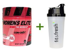 Best Con-Cret, Women's Elite, Pre-Workout, Raspberry, 1.65 oz (46.8 g), Vitaminder, Power Shaker Bottle, 20 oz Bottle BUNDLE ** Check out the image by visiting the link.