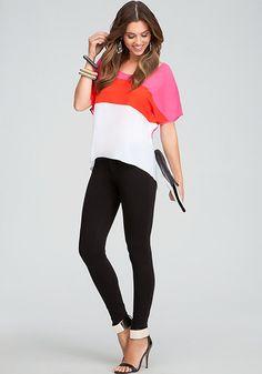 bebe | Art Class Fabulous - View All - Colorblock Top - Kirstie Skinny Pant - Jacqueline Metal Cuff Sandal - Reversible Leather Envelope Clutch