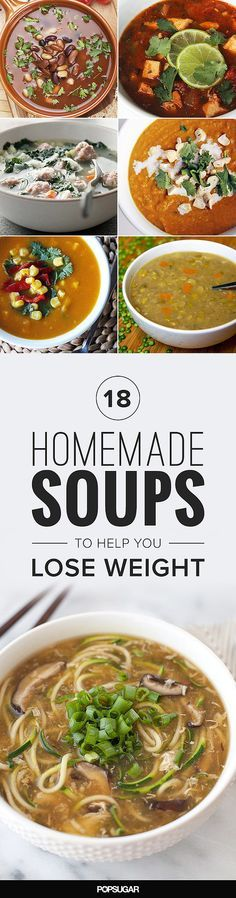 If you're looking to lose weight, celebrity trainer Joel Harper recommends serving up soup for dinner. These healthy soup recipes can help keep you regular, banish bloat, and support weight-loss goals! Sopas Light, Comidas Light, Diet Recipes, Cooking Recipes, Recipies, Diet Tips, Shake Recipes, Weight Loss Soup, Homemade Soup