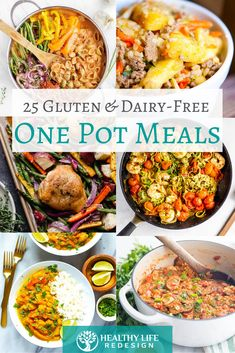 25 Healthy One Pot Meals – All Gluten and Dairy-Free! – Healthy Life Redesign 25 Healthy One Pot Meals – All Gluten and Dairy-Free! Gluten Free Meal Plan, Dairy Free Diet, Gluten Free Recipes For Dinner, Free Meal Plans, Foods With Gluten, Sans Gluten, Whole Food Recipes, Dinner Recipes, Dairy Free Quick Meals