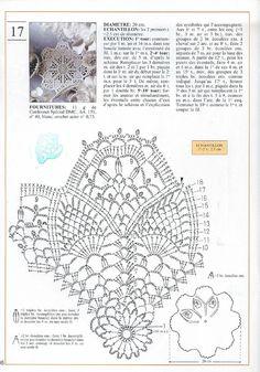 "Photo from album Mailles Nomero special hors-serie № 65 Le Crochet facile"" on Yandex. Crochet Doily Diagram, Crochet Doily Patterns, Thread Crochet, Filet Crochet, Crochet Stitches, Crochet Dollies, Pineapple Crochet, Crochet Circles, Crochet Tablecloth"