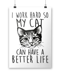 I Work Hard So My Cat Can Have a Better Life - Poster #CatMemes