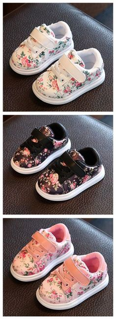 These Floral Sneakers for Baby Girls will dress up any casual outfit, thanks to their all-over print. The shoes come with a lace-up design with a velcro closure to keep the shoes secure on your baby�s feet. Padding on the heel top provides comfort, along