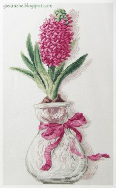 From DFEA 48.  My hyacinth is pink, not  blue  as the original  :)   Floss - DMC, fabric - Zweigart Quaker Cloth (Bantry) 28 ct, color -...