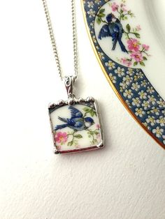 Broken china jewelry pendant necklace antique bluebird china made from a broken porcelain plate