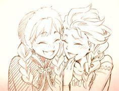 Elsa and Anna drawing by Yana Toboso (author of Kuroshitsuji).