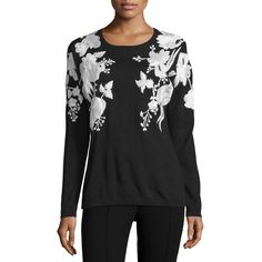 Naeem Khan Floral-Embroidered Cashmere Sweater ($2,650) ❤ liked on Polyvore featuring tops, sweaters, cashmere tops, slim fit sweater, long sleeve sweaters, long sleeve tops and round neck sweater