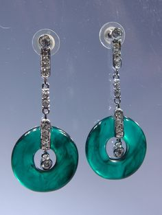 Chandelier Earrings Green Circle Lucite by WhiteCabbageVintage