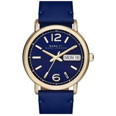 MARC BY MARC JACOBS 'Fergus' Leather Strap Watch, 38mm featuring polyvore, women's fashion, jewelry, watches, accessories, leather-strap watches, marc by marc jacobs jewelry, marc by marc jacobs watches, quartz movement watches and marc by marc jacobs