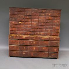 Red-painted Two-part Pine Apothecary Chest, mid-19th century, ht. 70, wd. 71 1/2, dp. 15 1/4 in.
