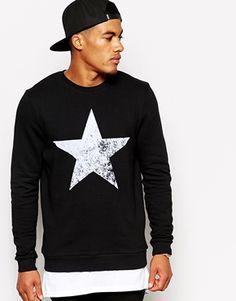 ASOS Sweatshirt With Flocked Star Print