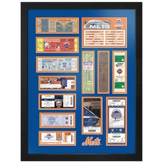 New York Mets x Tickets to History Framed Print Mets Baseball, Baseball Uniforms, Baseball Tickets, Baseball Cards, Baseball Tournament, Fan Store, Great Team, New York Mets, Best Budget