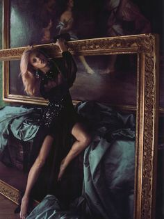 Anja Rubik in 'Hors Cadre (Out of the Frame)'    Photographer: Camilla Akrans    Dress: Gucci F/W 2012/13    Numéro #137 October 2012