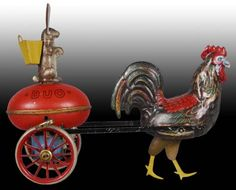 German Duo Tin Wind-Up Lehmann Rooster Rabbit Toy, Germany Children's Toys, Tin Toys, Doll Toys, Antique Toys, Vintage Toys, Vintage Antiques, Chicken Items, Toys In The Attic, Rooster Decor