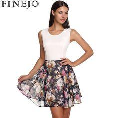 Sweet Floral Patchwork Dress Elegant Print Women Back Zipper O-Neck Sleeveless Slim Casual Tank