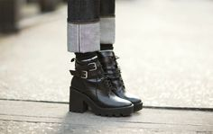 Three Things… - Three things I love about this look:1. The tough Zara boots (yes, Zara!). 2. The socks peaking out.3. The wide cuff on the jeans-- super cool!What about you