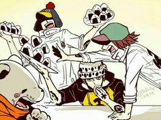 Bepo, Law, Shachi, Penguin, funny, eating, onigiri, rice balls; One Piece