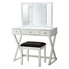 The X-Base Vanity Set is a classic vanity set that is elegant and functional. The attractive vanity is a great place to store and apply makeup. Take a seat as you style your hair and put on your makeup in comfort. No more hovering over the bathroom sink. The X-Base set includes the table, mirror and stool. This is a pretty piece of furniture that will add a touch of class to a bedroom or bathroom area.