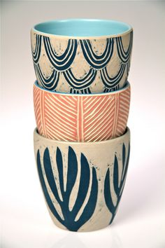 'Hand-Carved Ceramic Beakers' by Dimity Kidston.