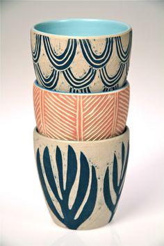 'Hand-Carved Ceramic Beakers' by Dimity Kidston.