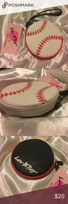 ⚾️NWT Betsey Johnson Baseball Coin Purse Wristlet BRAND NEW with tag Betsey Johnson Baseball Coin Purse! Has zipper closure and wristlet! Interior is white stars and grey background print! Will ship immediately, get her now ❤️ Betsey Johnson Bags Clutches & Wristlets