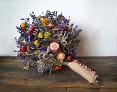 Wedding bouquet, Wedding dried flowers, lavender bouquet, wild flowers bouquet, dried lavender, dried billy buttons bunch, strawflower by WeddingDesignForYou on Etsy