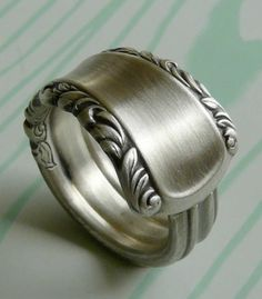 Beautiful Silver Spoon Ring May Queen Pattern by Revisions on Etsy