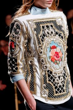 Balmain Fall 2012 - Love the use of tapestry as a centre piece and pearl detailing